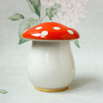 Mushroom Porcelain Box / RARE Adorable USSR Vintage Golden Tipped Multipurpose Jewellery Box / Sugar Bowl / Soviet Agaric Shroom Candy Jar