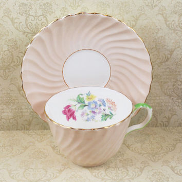 Aynsley Light Pink Floral Vintage 1930s English Bone China Tea Cup and Saucer