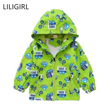 Trendy LILIGIRL Windbreaker for Boys 2018 Autumn New Cartoon Pattern Print Coats Kids Hooded Jackets Fashion Outwear Baby Girl Clothes AT_94_13