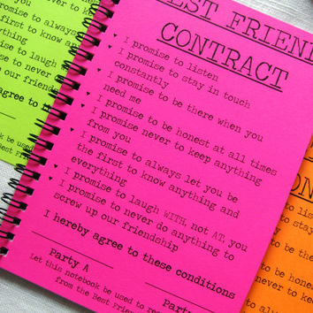 SPECIAL EDITION- Best Friend Contract- Your Choice Neon Color - 5 x 7 journal