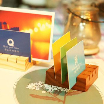 Eco-Friendly Wood Cute Memo Pincer Clips Paper Photo Clip Holder Wooden Small Clamps Stand Card Stand Message Holder