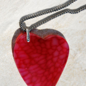 Red Dragon Vein Agate heart pendant necklace, sterling silver chain necklace, red heart necklace, agate necklace, handmade necklace, pendant
