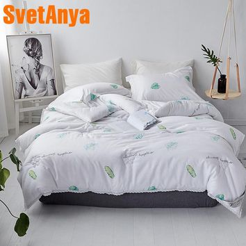 Svetanya Warm Quilt Leaves Brief Style Throws Blanket White quilted Comforter 150x200cm 200x230cm 220x240cm Plaids