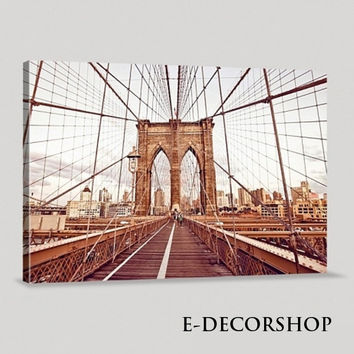 Large Wall Art Brooklyn Bridge Canvas Printing Framed Ready Hang Wall | New York City Canvas Printing | Manhattan Canvas Painting
