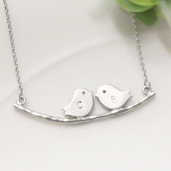 Two bird initial necklace Personalized Initial by ElliesButton