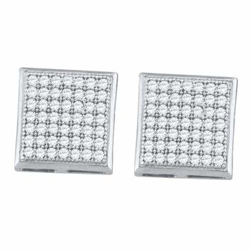 10kt White Gold Women's Round Diamond Square Cluster Earrings 1-3 Cttw - FREE Shipping (US/CAN)