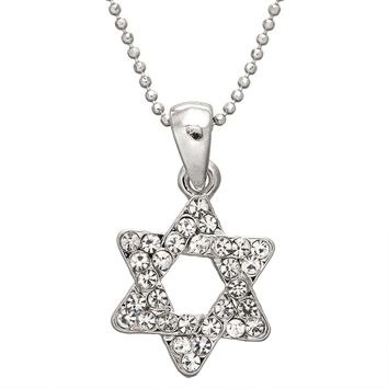 Large Gemmed Star of David Necklace