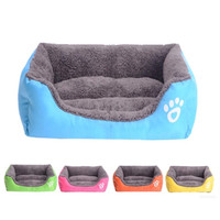 4 Color Warm Soft Fleece Pet Dog Cat Puppy Bed Mat Pad House Kennel Bed Futon Cushion L/M/S
