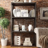 HomeVance Calhoun Industrial Wide Bookshelf (Grey)