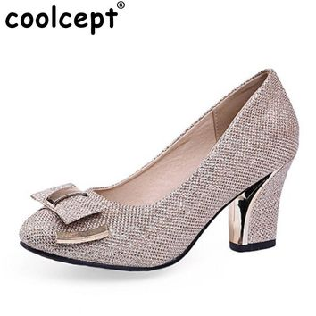 Coolcept Size 33-43 Sexy Lady Thick High Heel Pumps Women Bowtie Bowknot Round Toe Slip On Shoes Women Bling Party Footwear