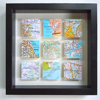 Framed Square Maps - Shadow Box Map Squares - Wedding or Anniversary Gift - Customized Gift for Traveler - 3D Map Art - Gallery Wall Art