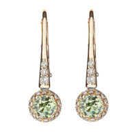 Earrings Romance in red gold, green sapphire, brilliants | RenéSim