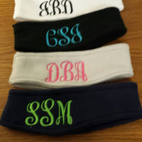Monogrammed Fleece Warm Headband Earwarmer Ear warmer fleece for toddler, teens and adults