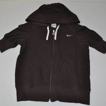 NIKE FITNESS SPORTS WORKOUT FULL ZIP BROWN HOODED SWEATER WOMENS SIZE SMALL S