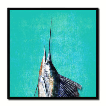 Sailfish Fish Head Art Aqua Canvas Print Picture Frame Wall Home Decor Nautical Fishing Gifts