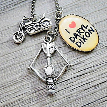 I heart Daryl Dixon photo resin with motorcycle & crossbow charms pendant necklace (antique silver)