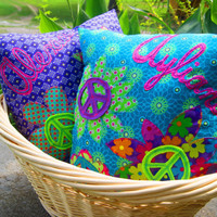 Peace Sign Pillows  Personalized Custom Made by fAverittecreations