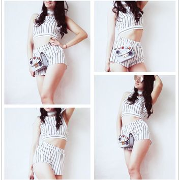 Vertical Striped Crop Top Shorts Set