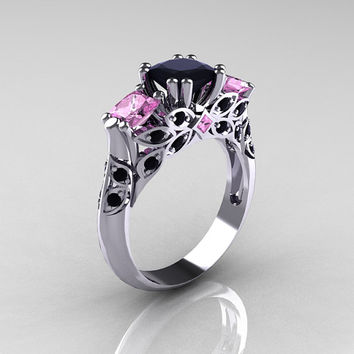 Classic 14K White Gold Three Stone Princess Black Diamond Light Pink Sapphire Solitaire Ring R500-14KWGLPSBD