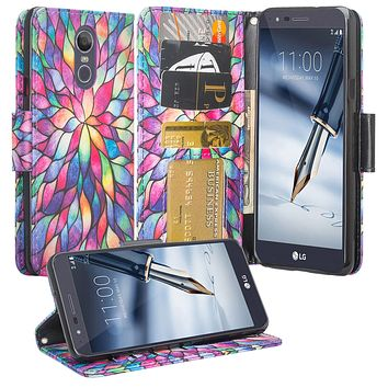 LG Stylo 4 Case, Stylo 4 Wallet Case, Wrist Strap Pu Leather Wallet Case [Kickstand] with ID & Credit Card Slots - Rainbow Flower