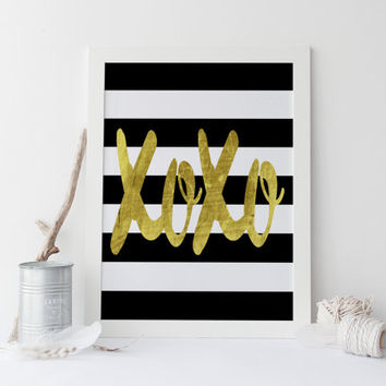 XOXO PRINT,Black And Gold,XOXO,Hugs And Kisses,Xoxo Wall Print,Girl Room Decor,Gossip Girl,Fashion Print,Xoxo Quote,Typography Print