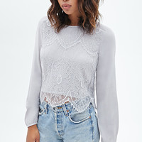 FOREVER 21 Eyelash Lace Woven Top Grey
