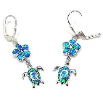 925 SILVER RHODIUM INLAY OPAL HAWAIIAN PLUMERIA DANGLE TURTLE LEVERBACK EARRINGS