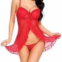 Womens Sexy Red Christmas Lingerie Open Front Santa Babydoll Chemise S-XXL