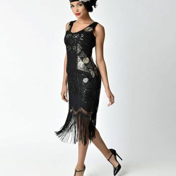 Unique Vintage 1920s Style Black Beaded Fringe Raina Flapper Dress