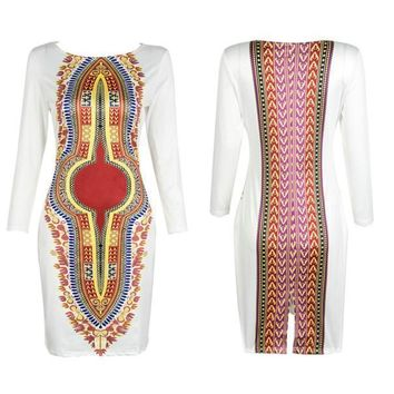 Women Autumn Long Sleeve Traditional African Lady Bodycon O-Neck Slim Dresses US