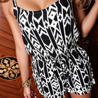 Womens Geometric Pattern Cami Jumpsuit