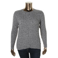 Karen Scott Womens Cable Knit Marled Pullover Sweater