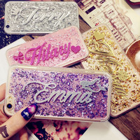 For 5s SE 6s plus Samsung s5 s6 s7 edge plus note 4 5 Thailand Luxury Exclusive Customize Name Personal Glitter soft phone case