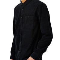 The Idle Man Long Sleeve Corduroy Shirt Black