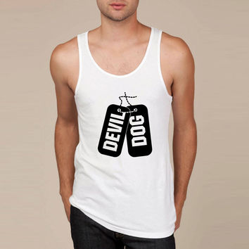 Devil Dog Marine Dog Tags Tank Top