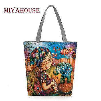 Miyahouse Character Design Canvas Bag Women Girl And Elephant Printed Shoulder bag Female Daily Use Ladies Tote Bags