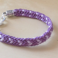 Purple/Lavender Cotton Flat Heart Kumihimo Bracelet-Friendship-Epilepsy-Alzheimers-Lupus-Cancers