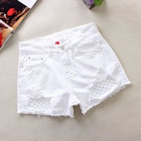 New 2018 Summer Sexy Short Women's Ripped Hole Denim Shorts White Jean Mid Waist Slim Casual Femme Short Jeans Mujer