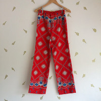 vintage 70s bandana print trousers / red white + blue / americana / boho / hippie / straight leg pants / xxs xs