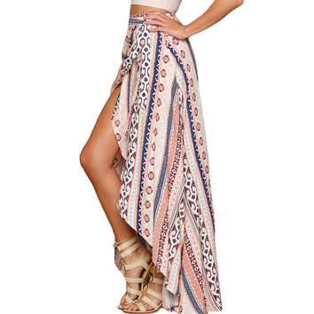 Asymmetric dashiki african print skirt