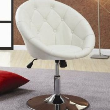 Coaster 102583 Round-Back Swivel Chair, White