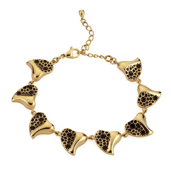 Gold & Black Heart Bracelet