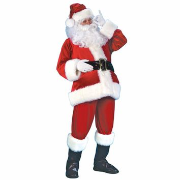 Cool 2018 Men's Christmas Suit Halloween Costume Long Sleeve Fancy Christmas Cosplay Party Costume Set Santa Claus Costume For AdultsAT_93_12