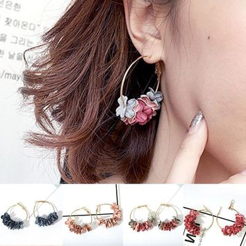 LNRRABC Cloth Art Flower Drill Charming Unique 4 Colors Jwelry Gift Allergy Free Women Circle Ring Earrings Hot Sale Ear Stud