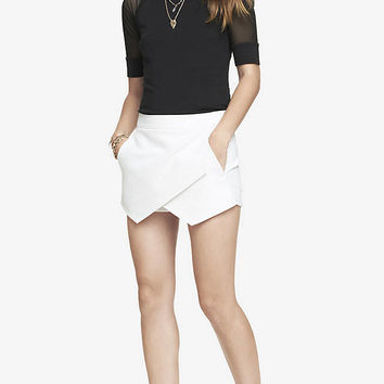 WHITE ASYMMETRICAL HEM SKORT from EXPRESS