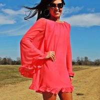 Coral Chiffon Swing Dress