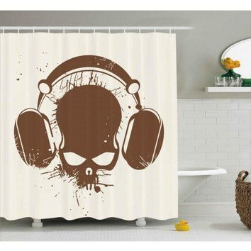 Music Shower Curtain Dj Grunge Retro Skull Print For Bathroom100% Polyester And waterproof Set with Hooks
