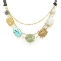 Natural Stone Coiled Linked Necklace | Turquoise