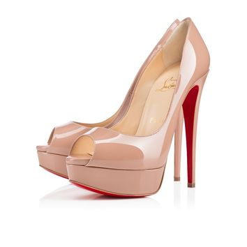 Christian Louboutin Cl Lady Peep Nude Patent Leather Platforms 3100893pk20 - Best Online Sale