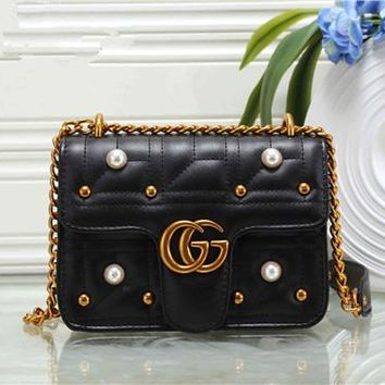 """Gucci"" Fashion All-match Double G Pearl Metal Chain Single Shoulder Messenger Bag Women Flip Small Square Bag"